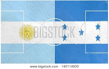 Flags of countries participating to the football tournament. Football field textured by Honduras and Argentina national flags. 3D rendering