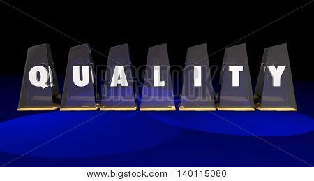 Quality Top Best Value Awards Letters Word 3d Illustration