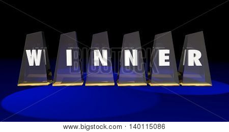 Winner Top Prize Awards Letters Word 3d Illustration