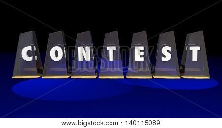 Contest Awards Competition Enter Win Word Letters 3d Illustration