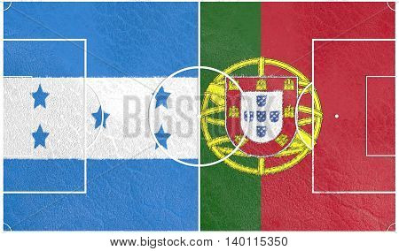 Flags of countries participating to the football tournament. Football field textured by Portugal and Honduras national flags. 3D rendering