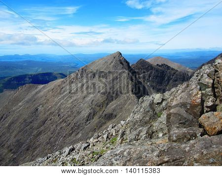 View from top of Cuillin mountains on the Isle of Skye in Scotland.