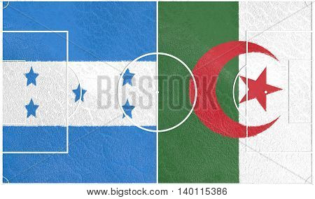 Flags of countries participating to the football tournament. Football field textured by Algeria and Honduras national flags. 3D rendering
