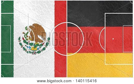 Flags of countries participating to the football tournament. Football field textured by Mexico and Germany national flags.3D rendering