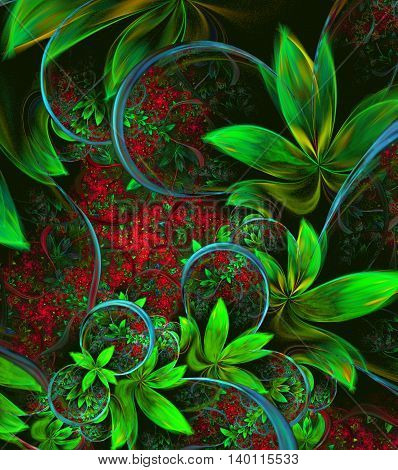 Illustration fractal background with green leaves and flowers. A fractal is a natural phenomenon or a mathematical set that exhibits a repeating pattern that displays at every scale.
