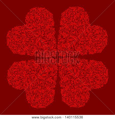 Decorative four hearts of the rich red ornament