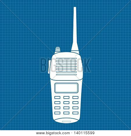 Walkie talkie. Vector illustration on blueprint background