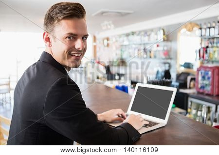Portrait of businessman using laptop in restaurant