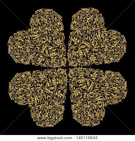Decorative four hearts of the rich gold ornament