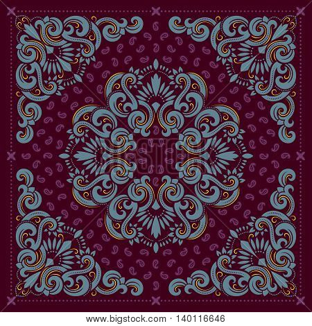 Vector ornament purple paisley Bandana Print, silk neck scarf or kerchief square pattern design style for print on fabric.