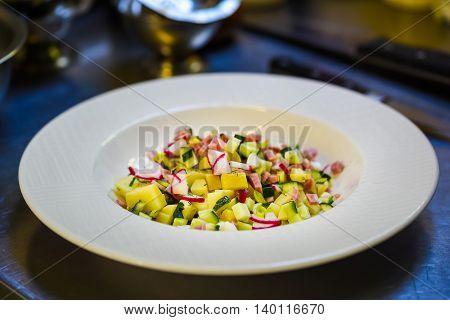 Fresh rustic vegetable salad served in restaurant