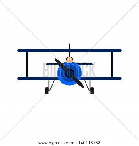 Vintage toy biplane with pilot. Blue color, front view. Vector illustration. Isolated on white background.