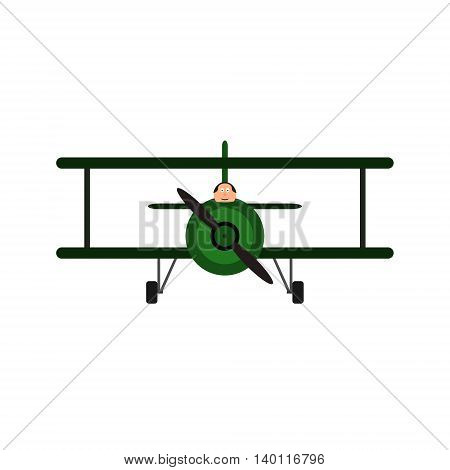 Vintage toy biplane with pilot. Military vehicle with green color, front view. Vector illustration. Isolated on white background.