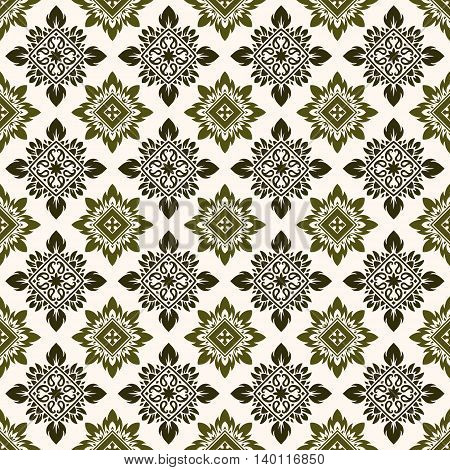 Seamless green pattern based on traditional Asian elements Paisley. Boho vintage style vector background. Best motive for print on fabric or papper.