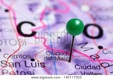Ciudad del Maiz pinned on a map of Mexico