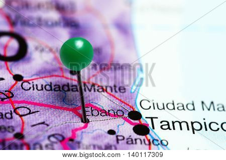 Ebano pinned on a map of Mexico