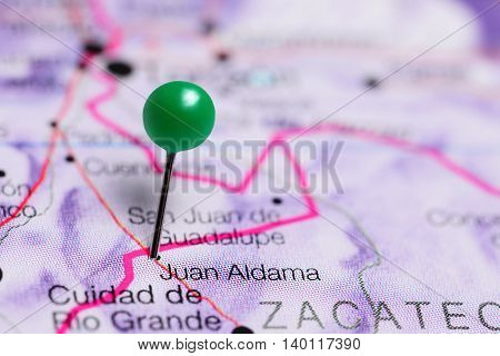 Juan Aldama pinned on a map of Mexico