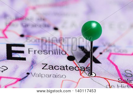 Zacatecas pinned on a map of Mexico