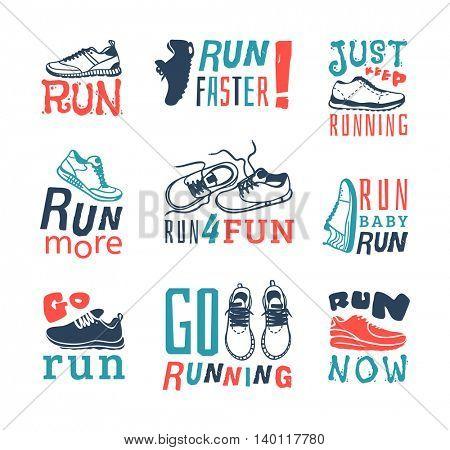 Run sport motivation vector set.