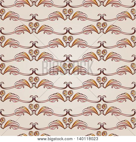Patterns in the form of vines abstact trees on a light beige background