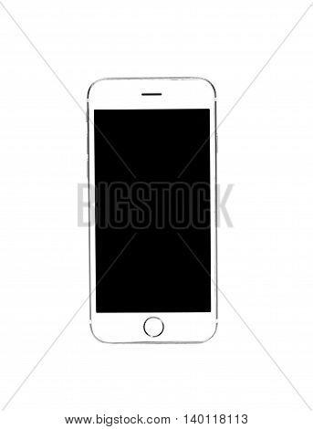 White Smart Phone Isolated on White Background