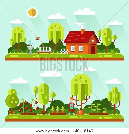 Flat design vector landscape illustrations with farm house, bench, fountain, birds. Garden with beds of carrots, peas, tomatoes, pumpkin, gardener. Farming, agricultural, organic products concept.