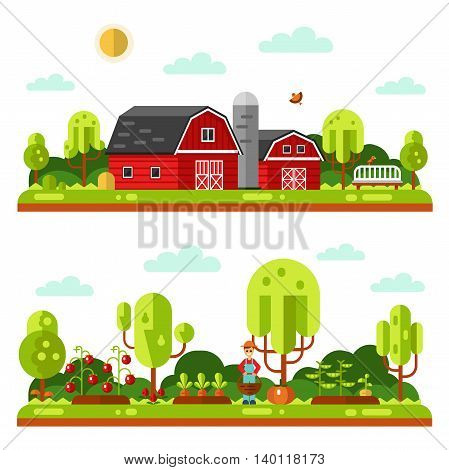 Flat design vector landscape illustrations with farm building, barn. Garden with beds of carrots, peas, tomatoes, pumpkin. Gardener with basket. Farming, agricultural, organic products concept.