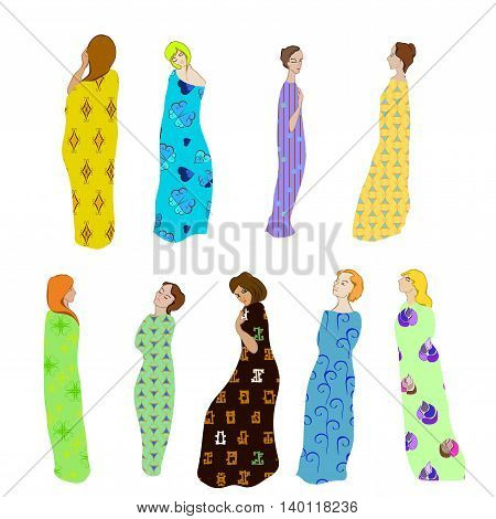 Girls Draped patterned fabric set of nine girls