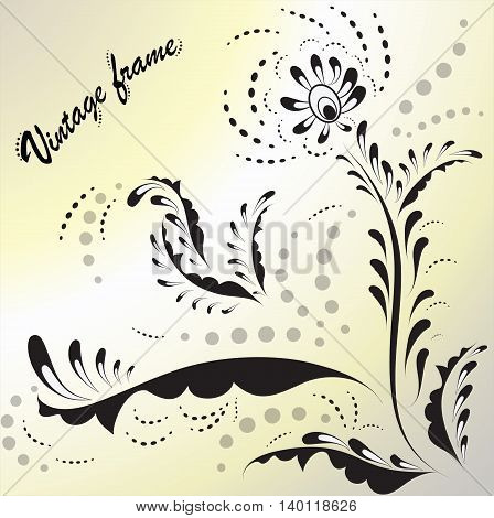 Design elements for vintage frames 3. Decorative Swirls. Vintage vector illustration.