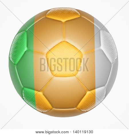 3D illustration of Soccer ball mapping with Ivory Coast flag