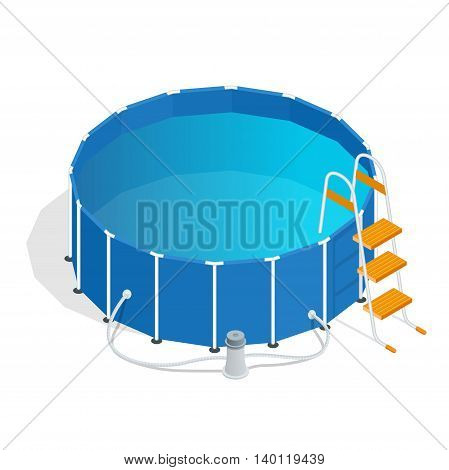 Portable plastic swimming pool isometric 3d vector illustration
