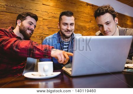 Young male friends using laptop at restaurant