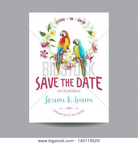 Save the Date. Wedding Card.  Tropical Flowers and Parrot Bird. Vector Floral Background.
