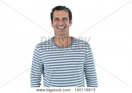 Portrait of mid adult man standing against white background