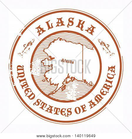 Grunge rubber stamp with the name and map of Alaska, vector illustration