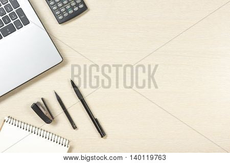Office desk table with supplies. Top view. Copy space for text.