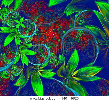 Illustration fractal background with green leaves and flowers.A fractal is a natural phenomenon or a mathematical set that exhibits a repeating pattern that displays at every scale.