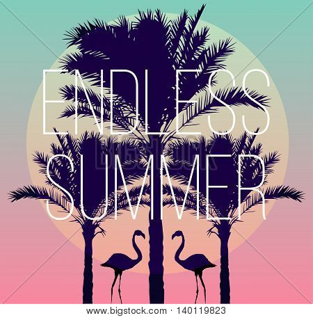Silhouette tropic birds flamingos and a banana palm tree in the background paradise sunset vacation sea beach. The artwork in trendy style of the mirror. slogan endless summer. Vector sun illustration