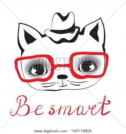 Vector smart cat avatar with red glasses