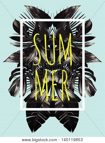 Illustration word slogan summer in a square white frame. The trendy tropic style. The art vector black mirror palm leaf. Print fashion floral background