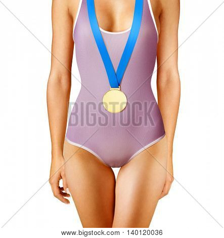 Part of beautiful winner wearing gold medal, isolated on white