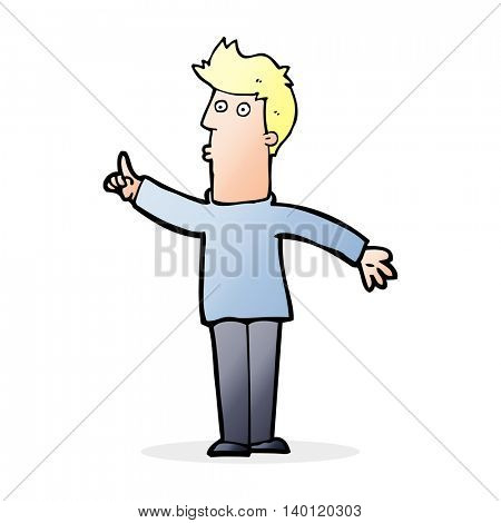 cartoon man advising caution