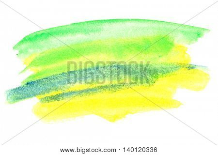 Watercolor brush strokes. Colours resemble flag of Brazil