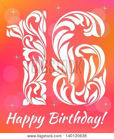 Bright Greeting Card Invitation Template. Celebrating 16 Years Birthday. Decorative Font With Swirls