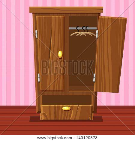 cartoon empty open wardrobe, Living room wooden furniture in vector
