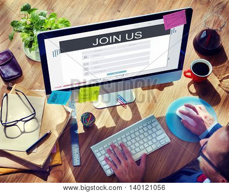 Join Us Membership Registration Follow Concept