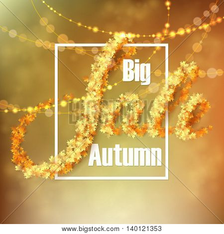 Autumn sale background with yellow maple leaves and light garlands. Vector illustration