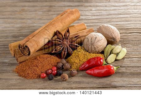 Still life with spices on wooden ground