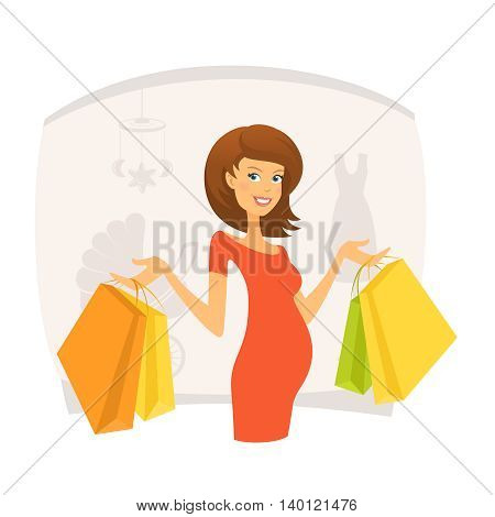 Beautiful pregnant woman with shopping bags in shopping mall