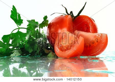 Dill bunch and tomato with two slices